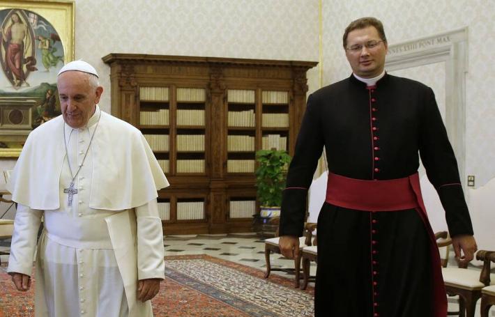 Папа Франциск і Вісвальдас Кульбокас у червні 2015, фото: AP Photo/Gregorio Borgi