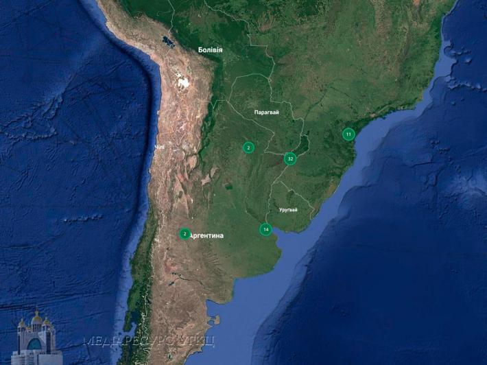 На Інтерактивну карту УГКЦ нанесено 33 позначки єпархії УГКЦ в Аргентині