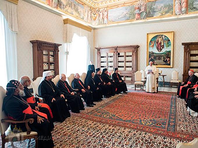Картинки по запросу встреча Папы Римского Франциска с патриархами и верховными архиепископами восточных