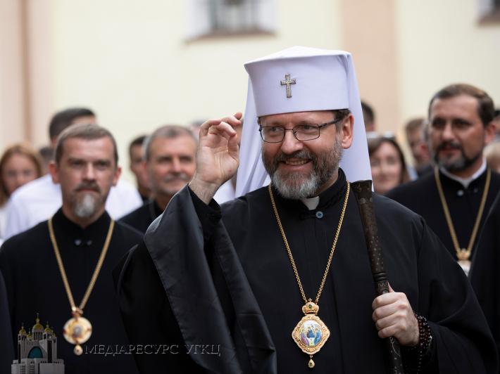 Блаженніший Святослав під час зустрічі з молоддю у Зарваниці, 17 липня 2021 року