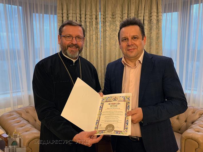 Глава УГКЦ нагородив творців фільмів про патріарха Йосифа Сліпого Патріаршими грамотами