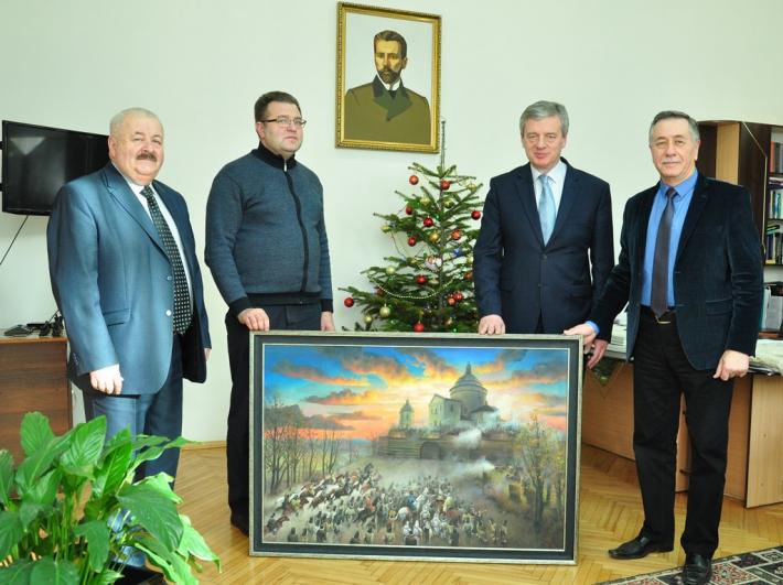 Отці василіани Гошівського монастиря отримали  в подарунок картину «Оборона Ясної гори»