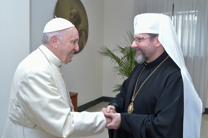 Святіший Отець під час зустрічі з Блаженнішим Святославом подякував УГКЦ за свідчення єдності Христової Церкви