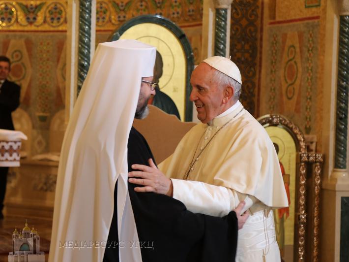 Глава УГКЦ Папі Франциску: «Сподіваємося, що цей візит є тільки першим кроком, добрим знаком Ваших майбутніх відвідин України»