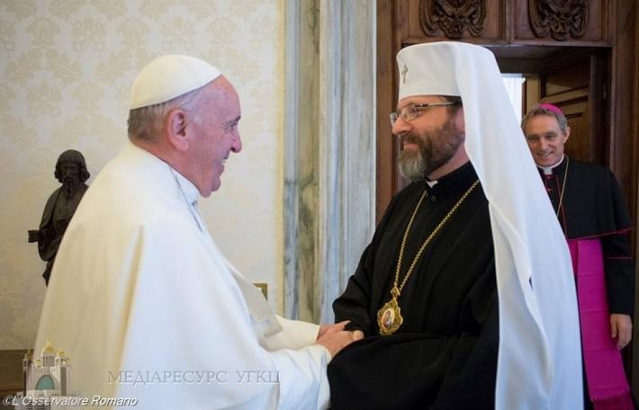 Глава УГКЦ зустрівся із Папою Франциском, який запевнив про молитовну підтримку України