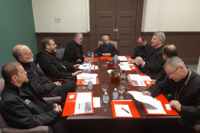His Beatitude Sviatoslav and the Bishops of the Permanent Synod of the UGCC met with professors at the American Catholic University
