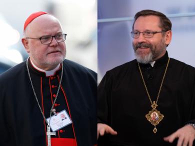His Beatitude Sviatoslav and Bishop Bohdan Dziurakh met with Cardinal Reinhard Marx